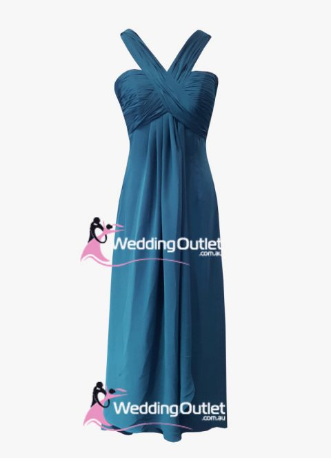 Teal Blue Evening dresses halter neck style #AQ101