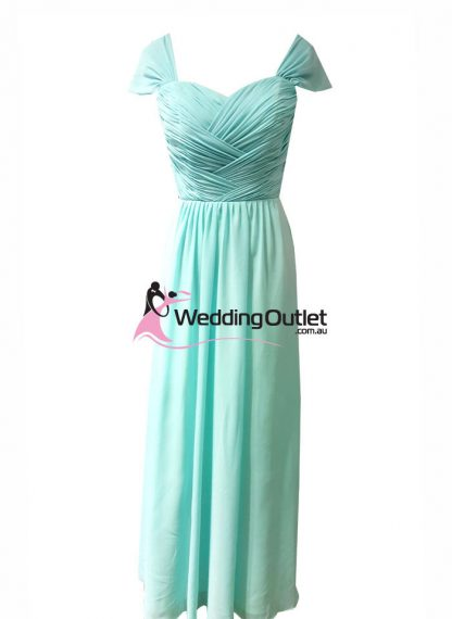 Aqua Tiffany Blue Cap Sleeves Bridesmaid Dresses Style #AW101