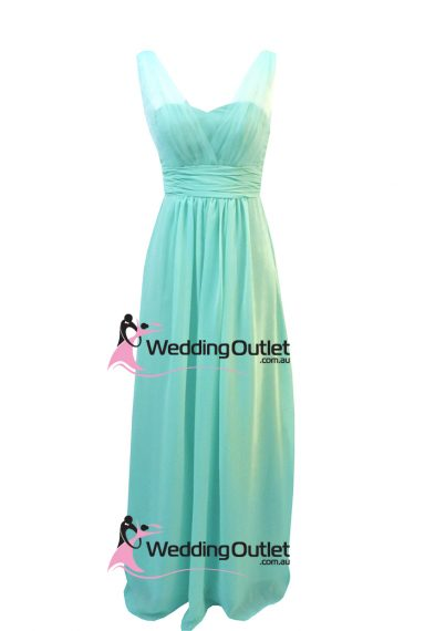 Aqua Tiffany Blue Bridesmaid Dress Tulle Sleeves Style #AK101