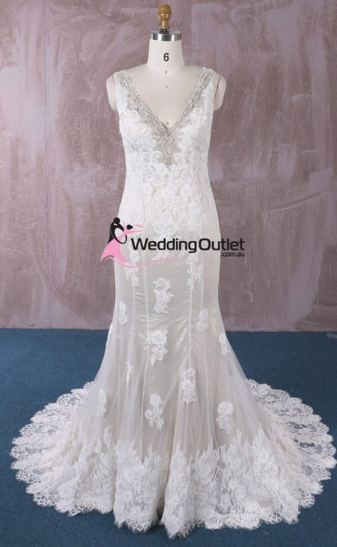 Peyton Champagne Vintage Lace Mermaid Wedding Gown