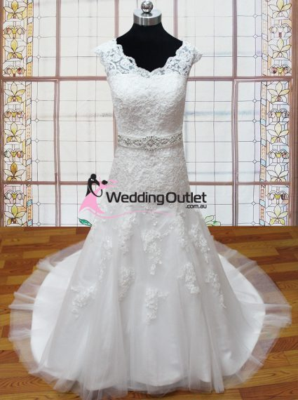 Rowena sleeved lace wedding dress