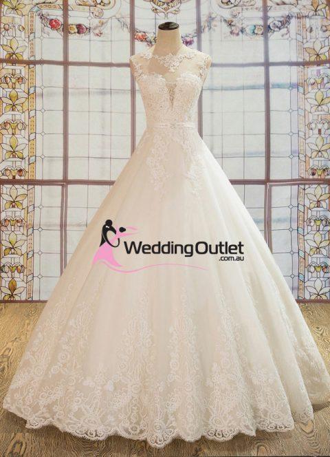 Luna Boat Neckline A Line Luxury Wedding Dress