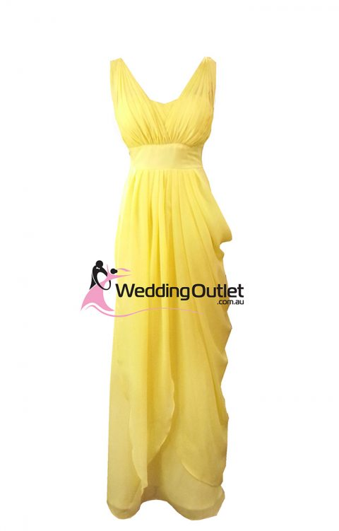 Yellow Bridesmaid Dress Two Sleeves Style #C102