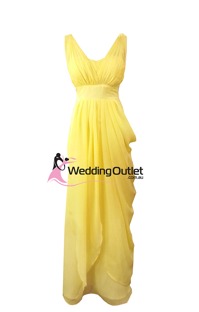 Yellow Bridesmaid Dress Two Sleeves Style C102